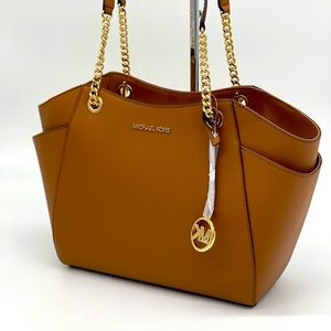 Michael Kors LG Chain Shoulder Tote Bag Br…